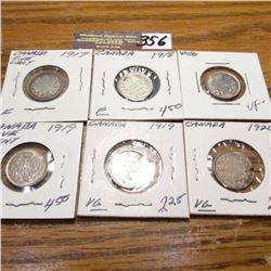 1917, (2) 18, (2) 19 & 20 Canada Five Cents. VG-VF.