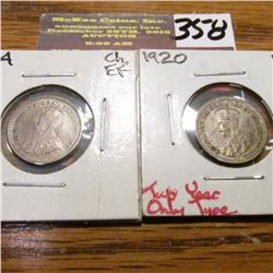 1914 & 1920 Canada Five Cents. EF.