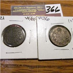 1921 Scratches & 1936 Canada Ten Cents. VF.