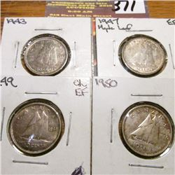 1943, 1947 ML., 1949 & 1950 Canada Ten Cents. EF-AU.
