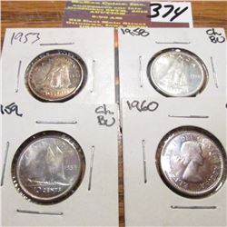 1963 Toned BU, 1958, 1959 & 1960 Canada Ten Cents. Choice BU