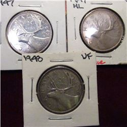 1947, 1947 ML. & 1948 Canada Twenty Five Cents. VF-EF.