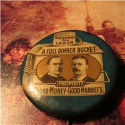 1900 McKinley/Teddy Roosevelt Jugate Celluloid Campaign Button Complete w/Backpaper Scarce