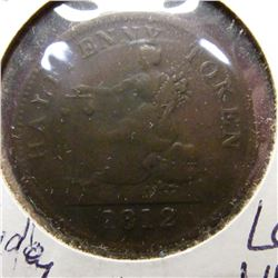 1812 Bank of Lower Canada Bank Token. VF.