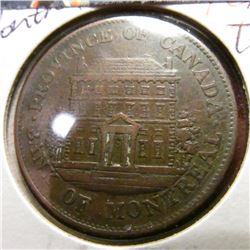 1844 Montreal Providence of Canada Penny Bank Token. VF.