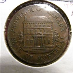1844 Montreal Providence of Canada Penny  Bank Token. EF.