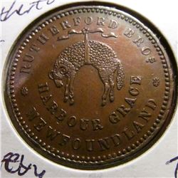 1846 Rutherford Bro.  Harbour Grace, Newfoundland Penny Token. AU.