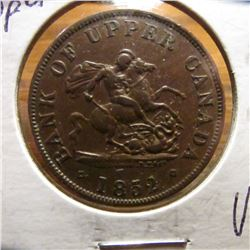 1852 Bank of Upper Canada Half Penny Token. VF+.