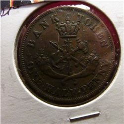 1852 Bank of Upper Canada Half Penny Token. EF.