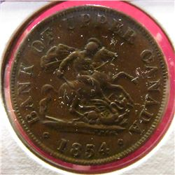1854 Bank of Upper Canada Half Penny Token. VF.