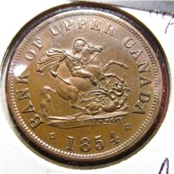 1854 Bank of Upper Canada Half Penny Token. AU 58.