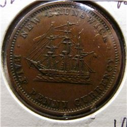 1854 New Brunswick Half Penny Currency. VF+.