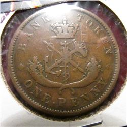 1852 Bank of Upper Canada Penny Token. F.