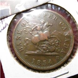1854 Bank of Upper Canada Penny Token. VF.
