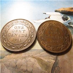 1911 & 1916 Canada Large Cents. Red-Brown AU-BU.