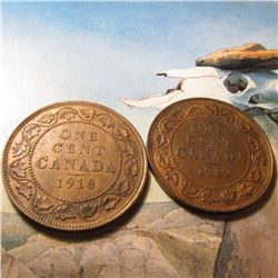 1918 & 1919 Canada Large Cents. Brown Unc.