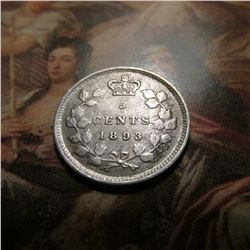 1893 Canada Five Cent Silver. VF.