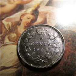 1901 Canada Five Cent Silver. Toned Unc.
