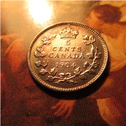 1904 Canada Five Cent Silver.Lightly toned AU.