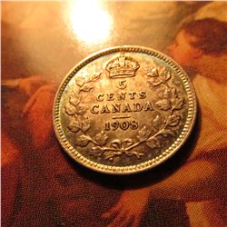 1908 Large Date Canada Five Cent Silver.Lightly toned AU.