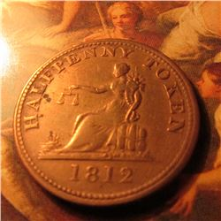 1812 Halfpenny  (Lower) Canada  Token. King George III of England reverse and Lady Justice obverse w