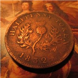 1832 Province of Nova Scotia Halfpenny Token. Thistle.