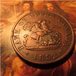1852 Bank of Upper Canada Halfpenny Token. VF.