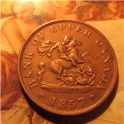1857 Bank of Upper Canada Halfpenny Token. VF.