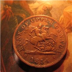 1854 Bank of Upper Canada Penny Token.