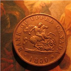 1850 Bank of Upper Canada Halfpenny Token. VF.