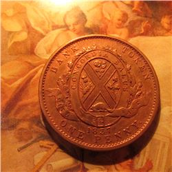 1837 Province of Canada City Bank Deux Sous One Penny Token.