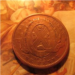 """1837 Province of Canada Bank of Montreal Deux Sous One Penny Token. Rare """"G.S.H."""" Counterstamp."""