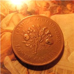 Trade & Agriculture Lower Canada Montreal Bank Token Un Sous, (Half Penny 1840 era).