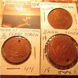 1844-1857 Trio of Half Penny & Penny Canada Tokens. All either holed or partially holed.