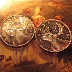 1950 & 1952 Canada Silver Quarters. Lovely toned BU.