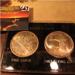 1966 & 1867-1967 Canadian Commemorative Silver Dollars. Gem BU and in a case.