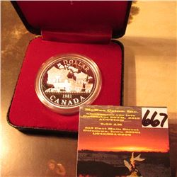 "1981 Proof ""Locomotive"" Canada Silver Dollar in original Royal Mint Case of Issue."