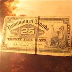 "January 2, 1900 ""The Dominion of Canada"" Fractional .25c Currency Note. Good."