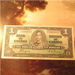 "January 2, 1937 ""Bank of Canada"" One Dollar Banknote. AU."