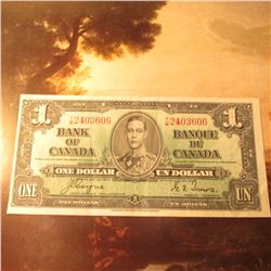 "January 2, 1937 ""Bank of Canada"" One Dollar Banknote. EF."