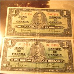 "January 2, 1937 ""Bank of Canada"" One Dollar Banknote. VG."