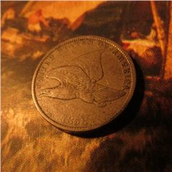 1858 Small Letters Flying Eagle Cent. VF.