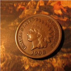 1908 S Indian Head Cent. VF-EF.