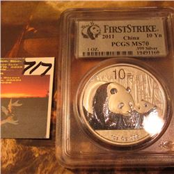 2011 China .999 Fine Silver Panda 10 Yuan PCGS FirstStrike MS70.
