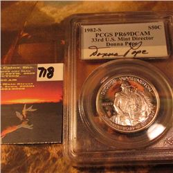 1982 S George Washington Half Dollar PCGS Slabed PR69DCAM Signed by Donna Pope, 33 rd US. Mint Direc