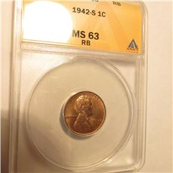 1942 S Lincoln Cent. ANACS Slabbed MS63RB,
