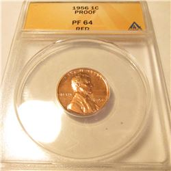 1956 P Lincoln Cent.  ANACS Slabbed PF64 Red.