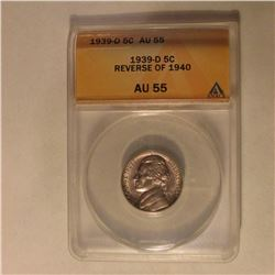 1939 D Jefferson Nickel. ANACS slabbed Reverse of 1940 AU55.