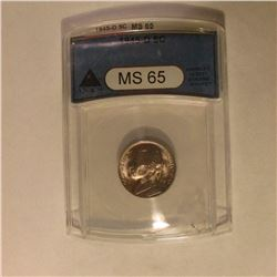 1945 D Jefferson Nickel. ANACS slabbed MS 65.