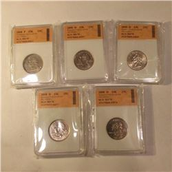 (1) 2008 P & (4) 2008 D Oklahoma Washington Quarters slabbed by SGS MS70. (5 pcs. Total).